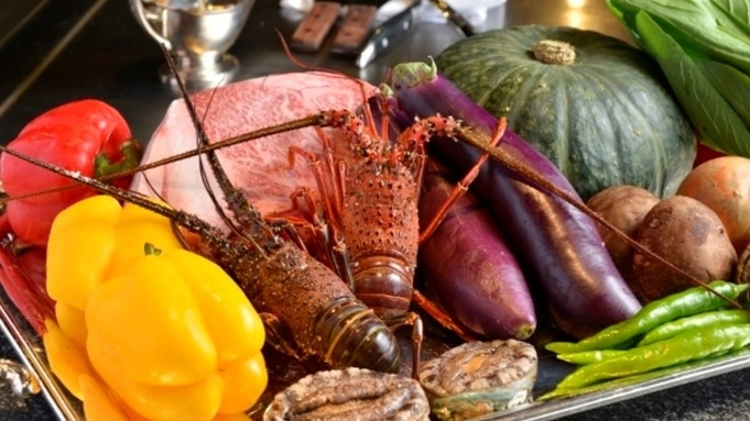 【2食付/鉄板】宮崎自慢の味・宮崎牛&魚・海老・帆立を食す!満足の鉄板焼きディナー