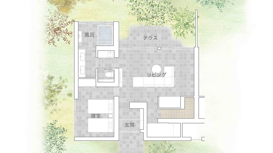 メゾネットスタイリッシュスイート(間取りイメージ1階)