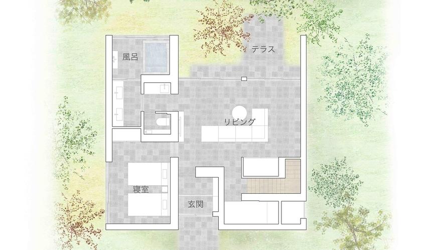 メゾネットラグジュアリースイート(間取りイメージ1階)