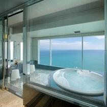 【最上階「特別洋室・バスルーム」海の大パノラマを満喫!