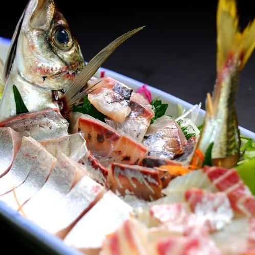 磯コースの季節の魚お造り。写真はアジと鯛