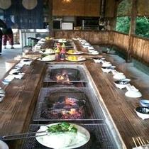 【里庵】BBQの開始前風景