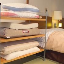 【快眠ルーム】快眠セラピストがセレクトした枕<全6種類>ご用意しております(一例)