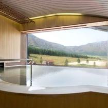 【大浴場】展望温泉から眺める初春の風景