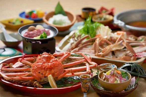 【高層階ツイン】活松葉蟹を使ったカニスキ鍋&茹で蟹&造り&和牛ミックスプラン
