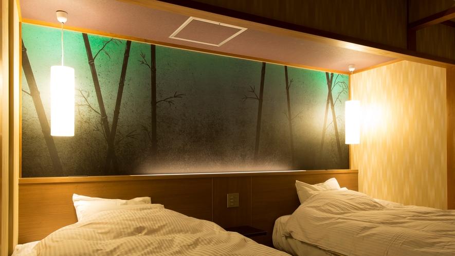 【高層階】和+ホテル機能 海と山望む露天風呂付ツイン【70㎡】