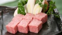 *若狭牛の陶板焼き!細かいサシが入った柔らかい上質のお肉をご堪能下さい。