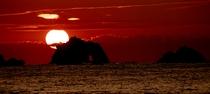 日出の石門からの朝日