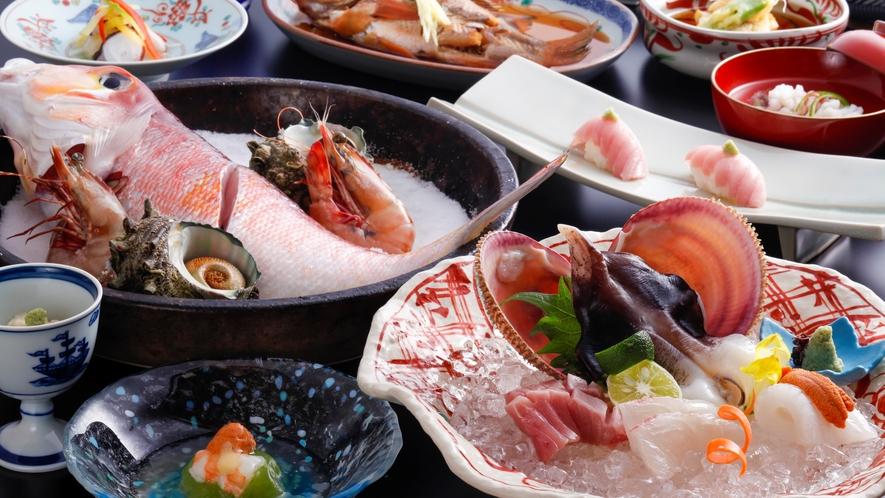 【海鮮会席・大満足】天然モノにこだわった、天橋立のブランド食材が勢ぞろい!(夏の一例)