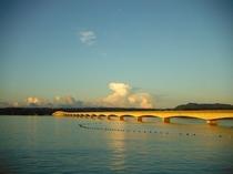 金色に輝いて見える朝の古宇利大橋