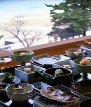 朝食の一例(田沢湖を望む)
