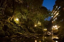 ライトアップした夜の渓谷と外観