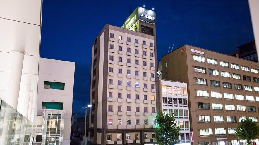 ◎ホテル外観(夜)◎JR岡山駅東口から徒歩5分♪
