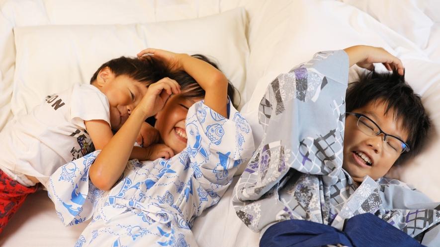 【和室】夜はお布団を並べてゆっくりおやすみなさい♪また明日めいっぱい遊んじゃおう!