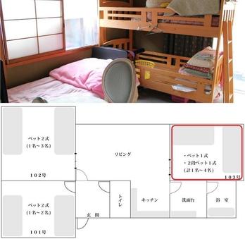 素泊グループルーム|2段ベット有|1名〜4名|103号室