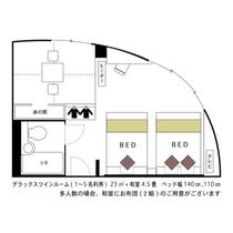 ☆デラックスツインルーム☆■広さ23平米■★間取り図★