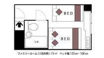 ☆ファミリーツインルーム☆■広さ15平米■★間取り図★