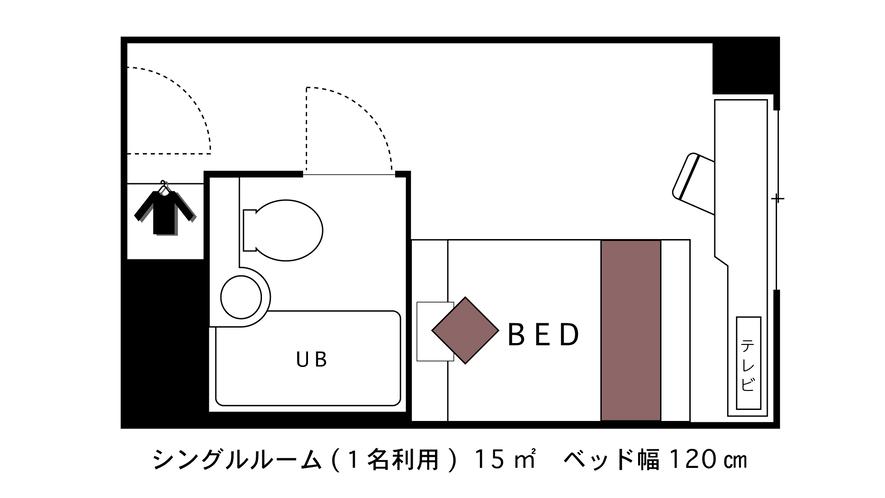 ☆シングルルーム☆■広さ15平米■★間取り図★