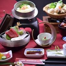 季節の釜飯と鍋和膳の一例です。