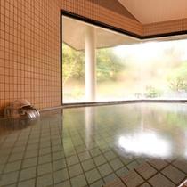 *大浴場/大きな窓からは緑豊かな庭園が広がります。四季折々の景観を愉しみながら入る湯浴みを満喫下さい。