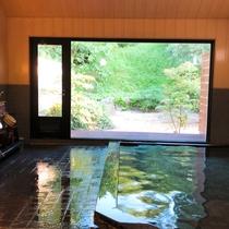 大浴場/大きな窓からは緑豊かな庭園が広がります。