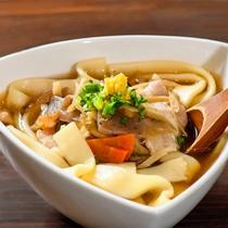 【足湯cafe】メニュー例/おっきりこみ(醤油味)
