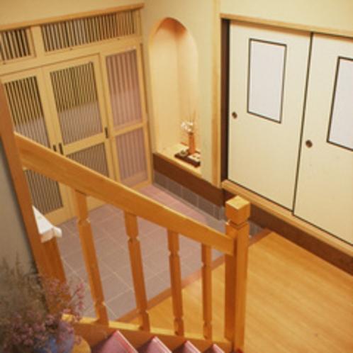 館内のご紹介「 階段踊り場〜玄関 」
