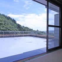 4Fすぎの部屋からのバルコニーの眺望