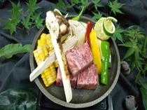 松茸&阿波牛の陶板焼き
