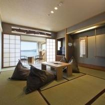 【スパリゾート館特別室】68㎡の広々とした客室。5名様まで宿泊可能でございます。