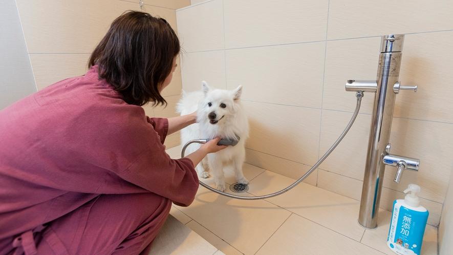【ペットルーム】ワンちゃん専用のシャワーブースには、犬用シャンプーもございます。