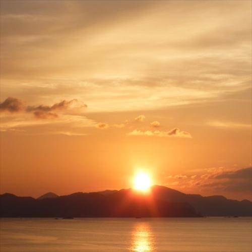 【景色】館から見る夕日 10月