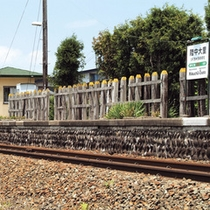 *当館最寄駅/JR花輪線・陸中大里駅。のんびり、のどかな雰囲気の漂うローカル線の景色も旅の醍醐味♪