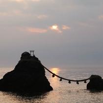 夫婦岩からの夕日