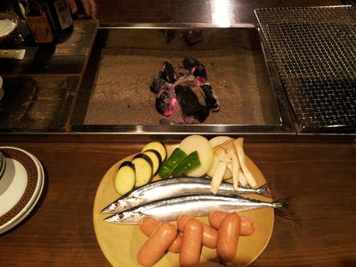 古民家 : 囲炉裏で料理