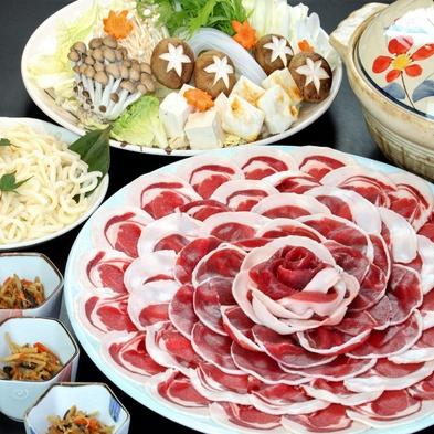 """◆【冬の味覚到来☆】大好評!コラーゲンたっぷり♪新鮮な猪肉を贅沢に使った""""ぼたん鍋会席""""【夕朝食付】"""