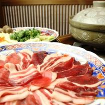 夕食_グレードアップ(ぼたん鍋)
