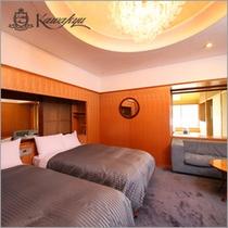 カワキュウスイート和洋室(ベッドルーム)一例