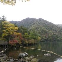 *【湯の湖】標高1478メートルに出来たせき止め湖で、周囲が3キロ、約1時間で一周できます。