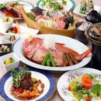 伊豆の幸がいっぱい!使用するお味噌や野菜にも地元の食材を使用しています。(写真は追加メニュー含)