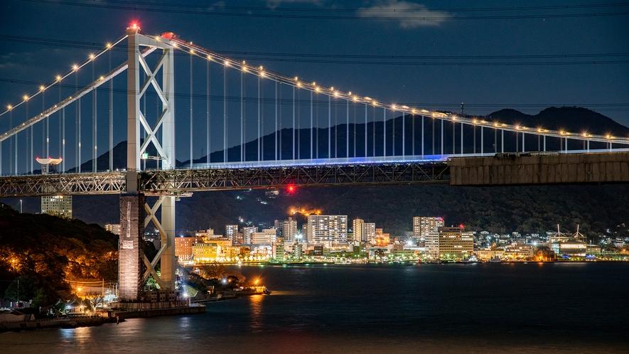 *【夜景】九州と山口と繋ぐ、関門海峡のシンボル!