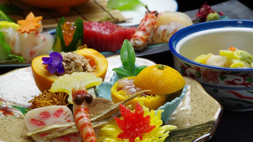 *【夕食一例】本格料亭の味☆地元伝統食材をふんだんに使用した献立の数々。