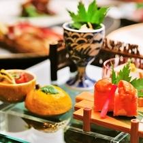 【前菜】季節の山菜等など旬の食材を味わいください。※ご夕食一例