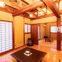 Aタイプ:和室6畳2間+居間(和室と居間、仕切りあり)・間取り例