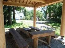80. 地元産の木材を利用した和風ログのバーベキュースペース 【〜8名様:しゃくなげ12号館】