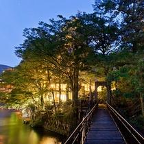 吊り橋 夕景