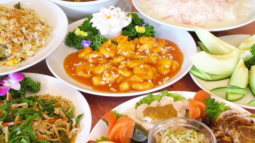 *宴会プラン中華コース一例/エビチリ、炒飯、フカヒレスープなど約7品をご用意致します。