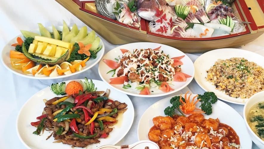 *宴会プラン和中コース一例/お刺身、鍋物などの和食と炒飯など中華料理を合わせた約7品。