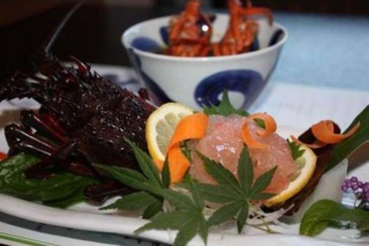 地物伊勢海老のお刺身とお味噌汁