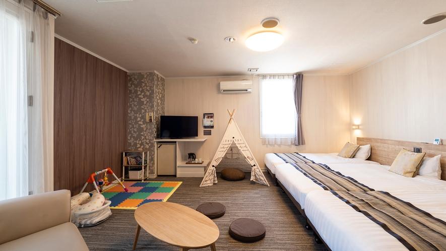 【特別キッズルーム】■45平米■ベッド140cm幅1台・110cm幅2台